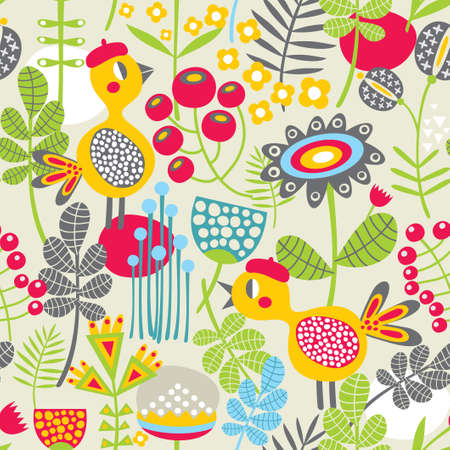 Seamless pattern with bird in red head  Cute vector background