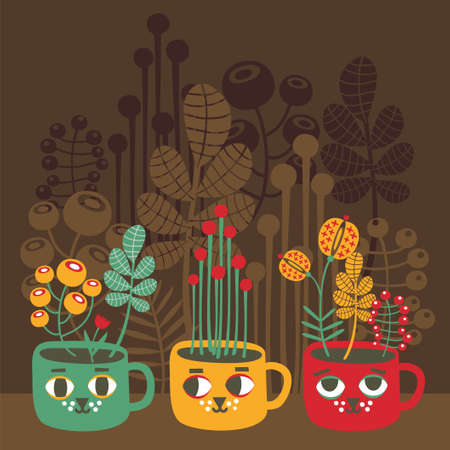 Cute vases with flowers - cat faces  Vector illustration  Vector