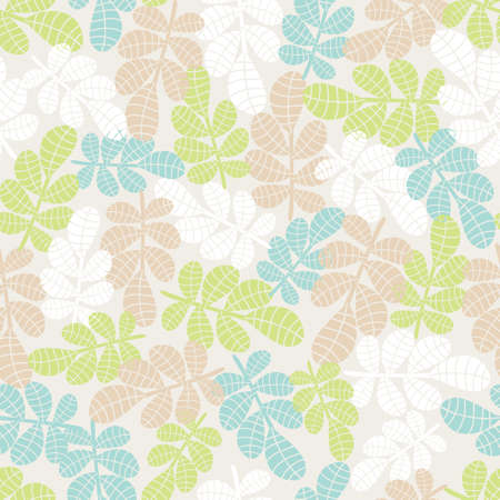 Seamless background with leaves and grass  Vector illustration  Vector