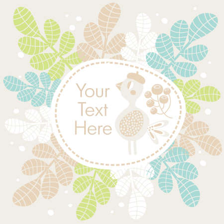 Cute banner with bird and flowers  Vector illustration