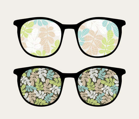 sunglasses reflection: Retro sunglasses with floral reflection in it   Illustration