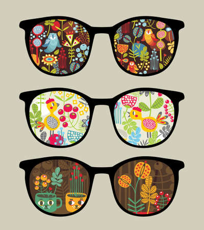 sunglasses reflection: Retro sunglasses with nature  reflection in it