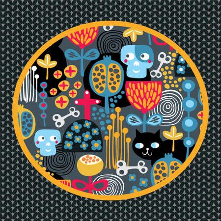 halloween pattern: Skulls and nature  Vector background  Illustration