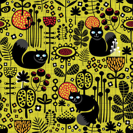 Seamless pattern with black cats    イラスト・ベクター素材