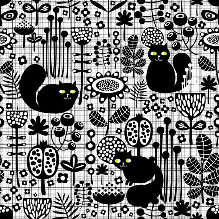 Seamless background with cute black cats   Stock Vector - 19456293