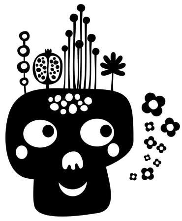 snob: Funny skull with flowers  Vector illustration   Illustration