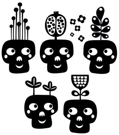 Funny skulls with flowers  Vector illustration Stock Vector - 19456287