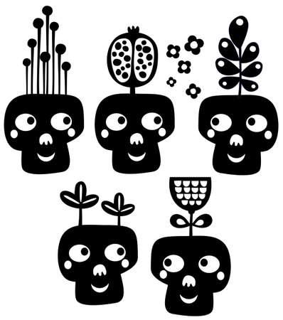 snob: Funny skulls with flowers  Vector illustration