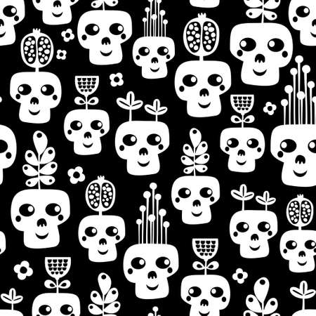 cemetery: Funny skull seamless pattern with flowers  Vector illustration