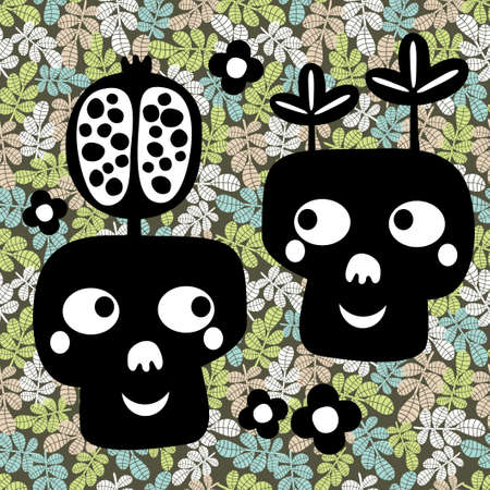 snob: Funny skull couple with flowers  Vector illustration