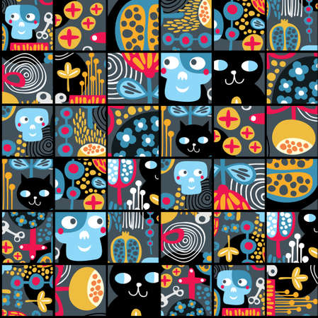 pattern monster: Seamless background with sculls and black cats in cell.
