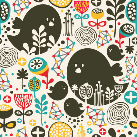 Cool seamless pattern with birds, flowers and geometric elements  Ilustração
