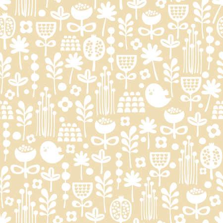Cute seamless pattern of cartoon birds and flora background  일러스트