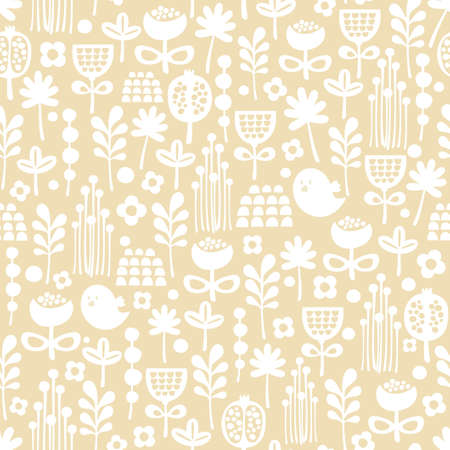 Cute seamless pattern of cartoon birds and flora background  Illusztráció