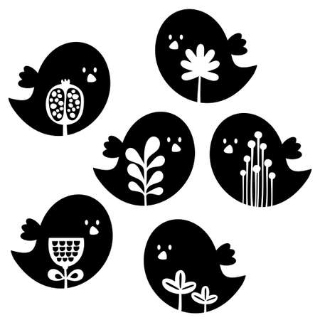 Collection of cute birds with flower decor cartoon illustration  Vector