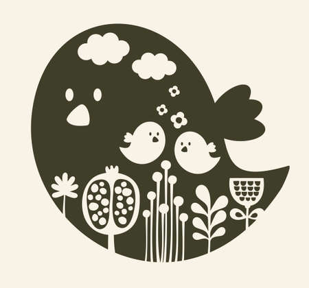 Print of cute cartoon bird illustration  Vector