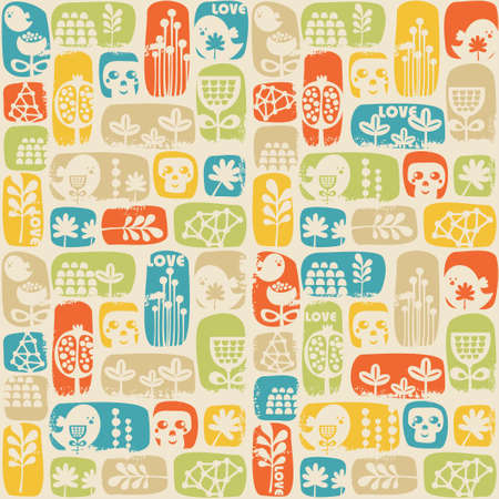 Seamless pattern with sculls, birds and flowers   Vector
