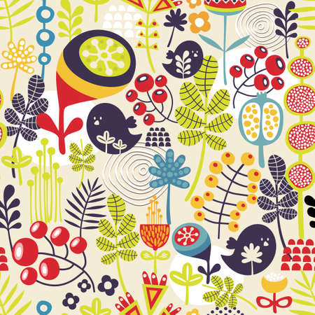 Beautiful seamless pattern with cute birds and pretty flowers   Ilustração