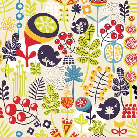 Mooie naadloze patroon met leuke vogels en mooie bloemen