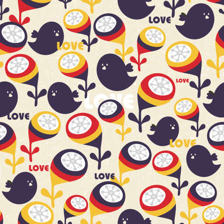 Retro seamless background with birds and flowers   Stock Vector - 19603867