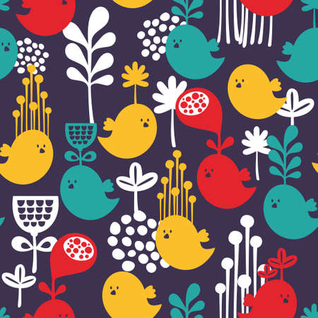 Seamless pattern with colorful cartoon birds   Vector