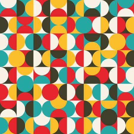 rayas de colores: Modelo incons�til retro con los c�rculos de colores de fondo Vectores