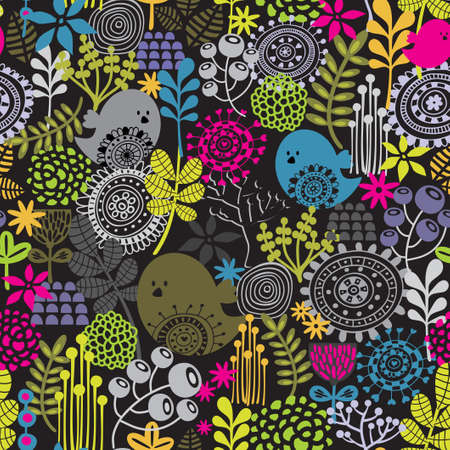 Beautiful seamless pattern with cute birds and pretty flowers   Vector