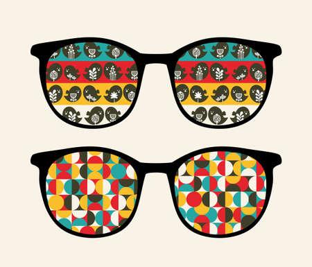 sunglasses reflection: Retro sunglasses with reflection in it   Illustration
