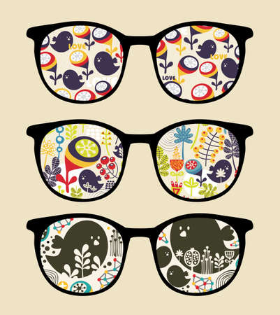 eyeglasses: Retro sunglasses with reflection in it   Illustration