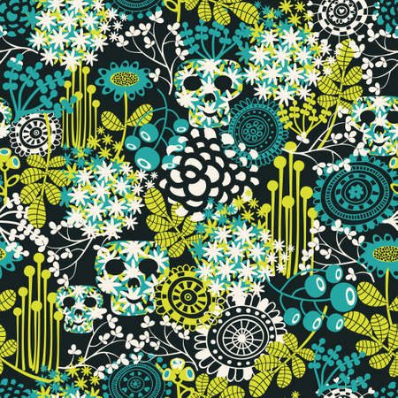 Cute skulls seamless pattern