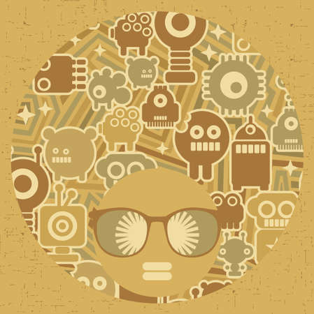 Black head woman with strange pattern hair illustration  Vector