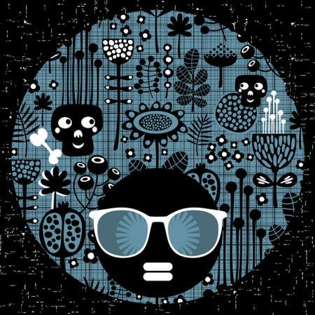 Black head woman with strange pattern hair illustration Stock Vector - 19790123