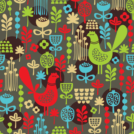 Beautiful seamless pattern with cute birds and pretty flowers  background Banco de Imagens - 19790019