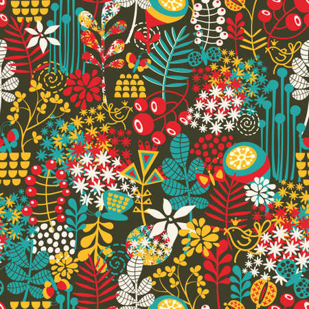 Beautiful seamless pattern with cute birds and pretty flowers  background