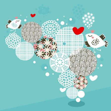 Birds, hearts and flowers illustration. Stock Illustratie