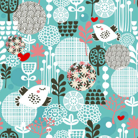 vintage background pattern: Cute seamless pattern with  birds, hearts and flowers texture.