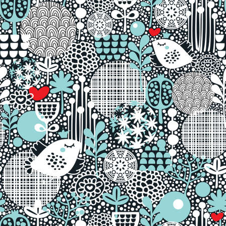 Cute seamless pattern with  birds, hearts and flowers texture. Vector