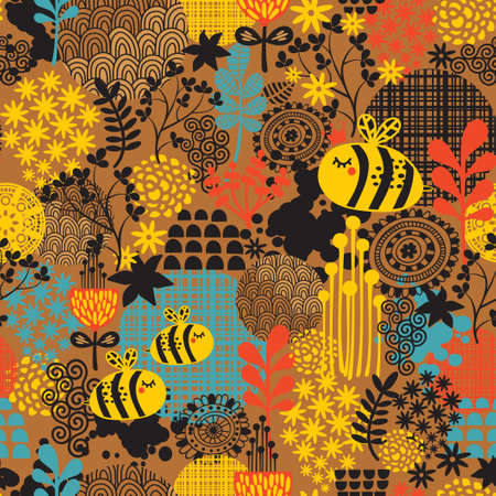 Seamless pattern with flowers and bees artistic background  Illusztráció