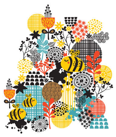 Background with flowers and bees  Vector artistic pattern  Vector