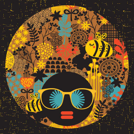 hippies: Black head woman with strange pattern on her hair  Vector illustration