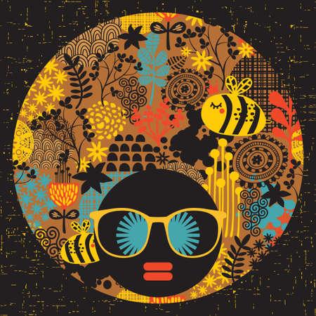 Zwarte hoofd vrouw met vreemde patroon op haar haren Vector illustratie
