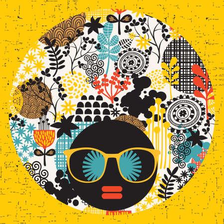 Zwart hoofd vrouw met vreemde patroon op haar haar Vector illustratie