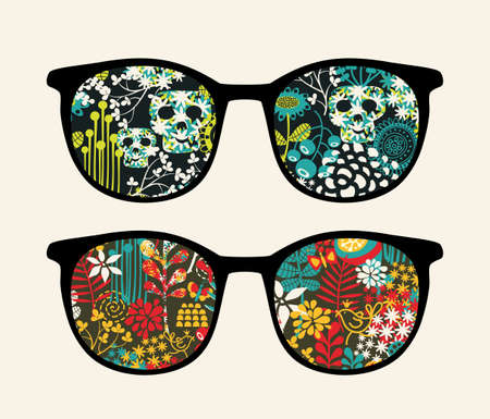 Retro sunglasses with reflection in it   Ilustração