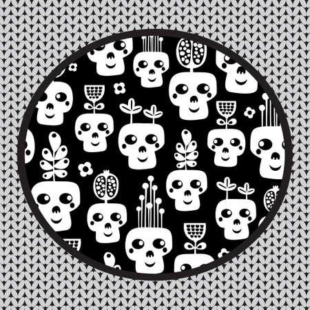 freak: Funny skull pattern with flowers  illustration   Illustration