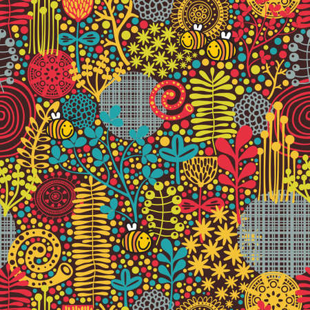 Seamless pattern with flowers and bees artistic background
