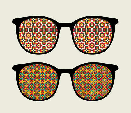 sunglasses reflection: Retro sunglasses with ornament reflection in it   Illustration