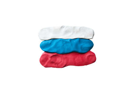 made in russia: Flag of Russia  Made of plastiline  Stock Photo