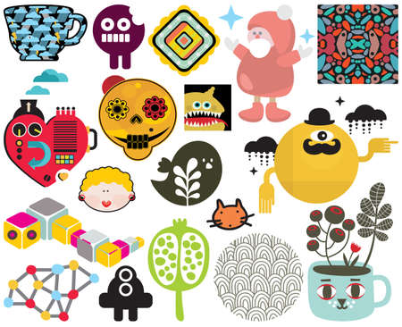 Mix of different images and icons Stock Vector - 21419976