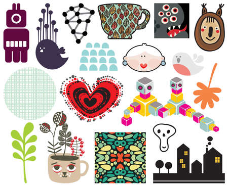 Mix of different images and icons  vol 67  Vector