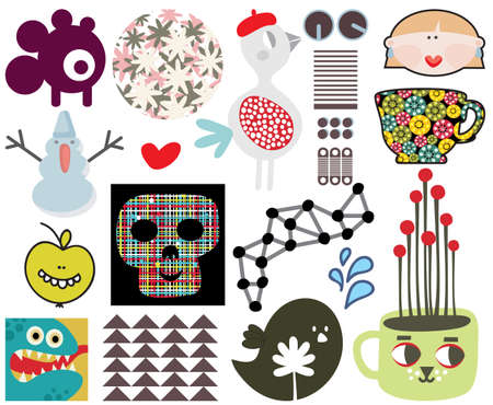 Mix of different images and icons  Vector